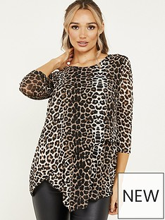quiz-quiz-brown-light-knit-leopard-round-neck-asymmetric-hem-34-sleeve-top