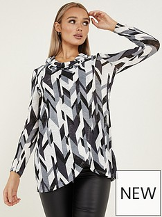 quiz-quiz-black-grey-cream-light-knit-abstract-cowl-neck-long-sleeve-asymmetric-top