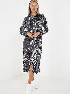 quiz-quiz-black-white-zebra-satin-long-sleeve-shirt-dress