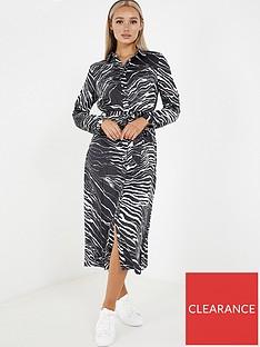 quiz-quiz-black-white-zebra-satin-long-sleeve-shirt-dress