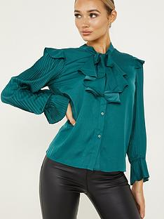 quiz-satin-pussybow-long-sleeve-top-green