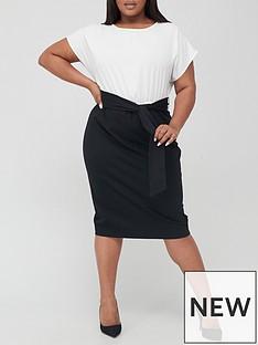 v-by-very-curve-contrast-pencil-dress-mono