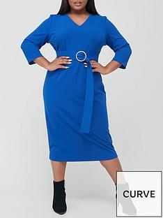 v-by-very-curve-v-neck-belted-midi-dressnbsp--blue