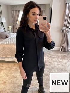 michelle-keegan-utility-casual-tencel-shirt-black