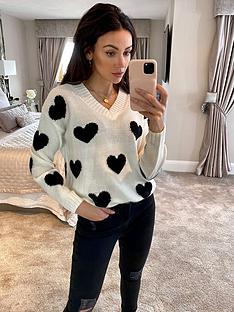 michelle-keegan-heart-longline-knitted-jumper-mono