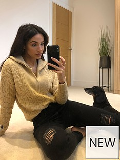 michelle-keegan-zip-neck-chunky-cable-knit-jumper-oatmeal