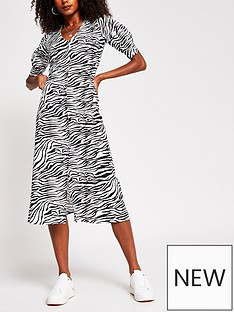 river-island-nbspbutton-down-zebra-print-midi-dress-black-print
