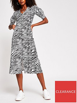 river-island-nbspbutton-down-zebra-print-midi-dress-black-print