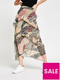 river-island-mixed-animal-print-chiffon-frill-midaxi-skirt-pink