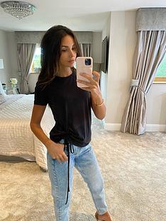 michelle-keegan-ruched-side-t-shirt-black