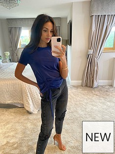 michelle-keegan-ruched-side-t-shirt-navy
