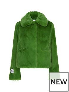 jakke-tommy-faux-fur-cropped-jacket-green