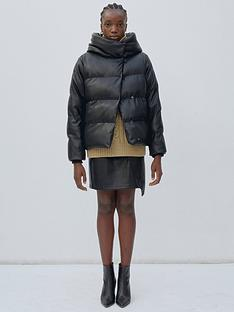 jakke-patricia-faux-leather-hooded-padded-jacket-black