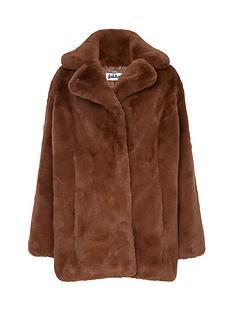 jakke-heather-faux-fur-jacket-chestnut