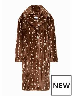 jakke-katie-bambi-print-faux-fur-duster-coat-brown