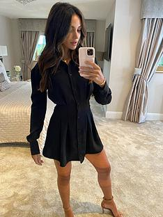 michelle-keegan-pleat-front-shirt-dress-black