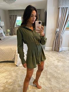 michelle-keegan-pleat-front-shirt-dress-khaki