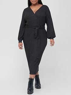v-by-very-curve-soft-rib-wrap-dress-charcoal