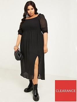 quiz-curve-chiffon-ruched-three-quarternbspsleeve-midi-dress-black