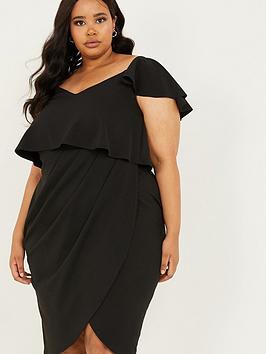 quiz-curve-scuba-crepe-double-layer-wrap-midi-dress-black