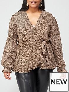 ax-paris-curve-animal-printed-wrap-top-camel