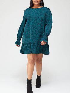 ax-paris-curve-animal-printed-smock-dress-green