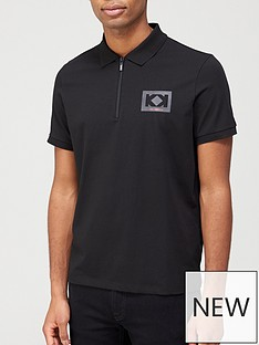 karl-lagerfeld-logonbspzip-polo-shirtnbsp--black