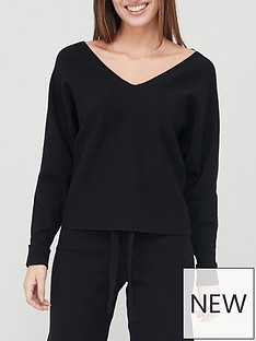 v-by-very-valuenbspeasy-v-neck-batwing-co-ord-knitted-jumper-black