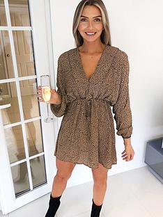 ax-paris-petite-drawstring-shirt-dress-animal-print