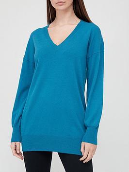 V By Very V-Neck Longline Knitted Jumper - Teal Blue