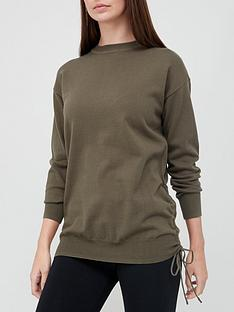 v-by-very-cotton-ruched-side-knitted-jumper-khaki