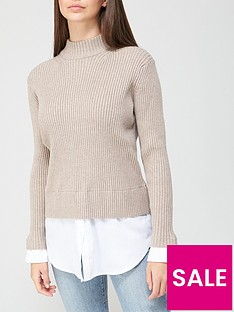 v-by-very-valuenbsproll-neck-2-in-1-shirt-detail-knitted-jumpernbsp--taupe