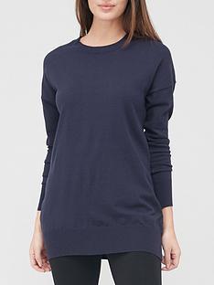v-by-very-valuenbspcrew-neck-longline-knitted-jumpernbsp--navy