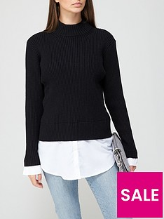 v-by-very-valuenbsproll-neck-2-in-1-shirt-detail-knitted-jumpernbsp--black