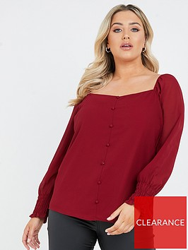 quiz-curve-chiffon-button-front-long-sleeve-ruched-cuff-top-berry