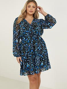 quiz-curve-folk-floral-print-chiffon-long-sleeve-wrap-dress-blue