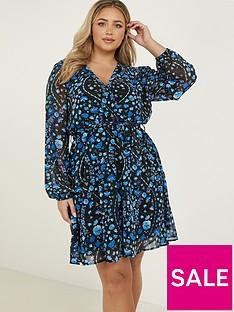 quiz-curve-folk-floral-print-chiffon-long-sleeve-wrap-dress-blue
