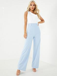 quiz-scuba-crepe-high-waisted-button-palazzo-trousers-navy