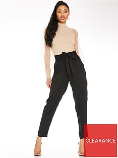 quiz-paper-bag-waist-trousers-black