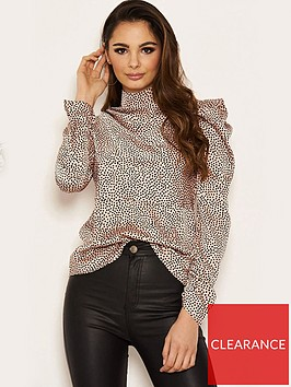 ax-paris-spotty-high-neck-puff-sleeve-top-pink