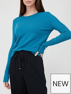 v-by-very-value-crew-neck-cuff-button-detail-knitted-jumpernbsp--teal-blue