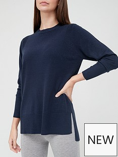 v-by-very-front-seam-detail-longline-knitted-jumper-navy