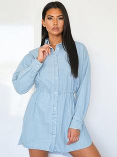 missguided-missguidednbspdrawn-oversized-denim-shirt-dress-light-blue