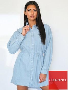 missguided-missguidednbspdrawn-oversized-denim-shirt-dress-light-blue