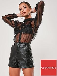 missguided-missguidednbspcroc-faux-leather-short-black