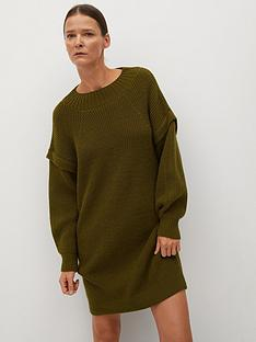 mango-knitted-jumper-dress-dark-green