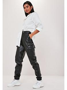 missguided-faux-leather-cargo-trouser-black