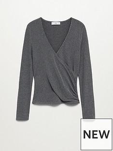 mango-jersey-v-neck-wrap-top-grey