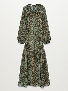 Mango Swing Zebra Midi Dress - Khaki, Khaki, Size S, Women