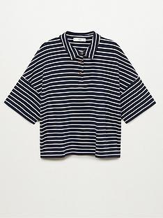 mango-striped-polo-top-navy